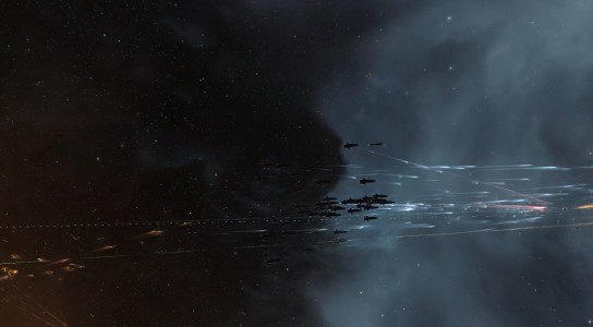 One of the Machariel Fleets Burning in to Engage on the Tower Grid