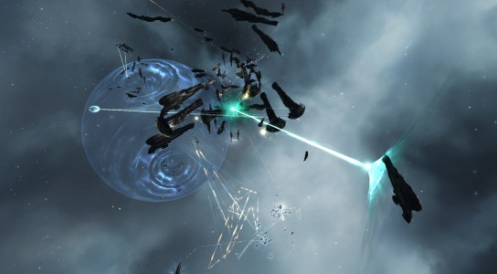 Circle-Of-Two Erebus Titan Firing Its Doomsday Device at a Low Sec Voltron Dreadnought