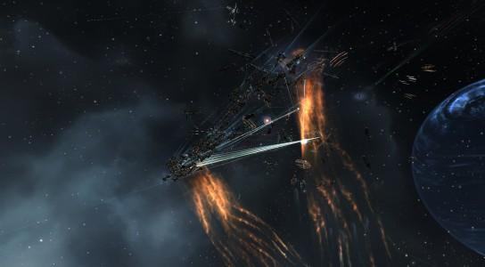 The Imperium Proteus Fleet Attempting to Destroy a Pandemic Legion Maelstrom