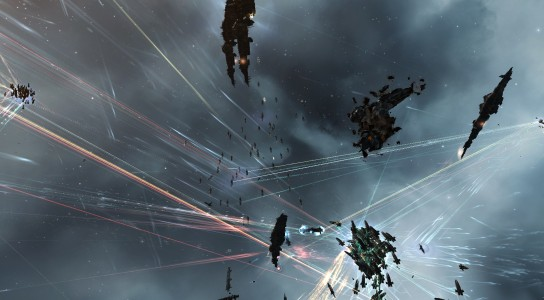 Imperium Dreadnoughts Firing Upon the Pandemic Legion Triage Carriers
