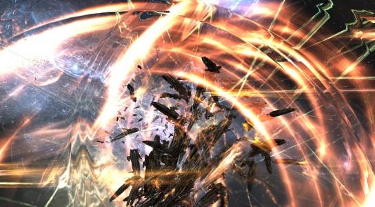 An Imperium Machariel Fleet Being Hit by Allied Bombers