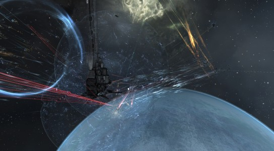 Allied Forces Engaging the Imperium Proteus Fleet on the M-OEE8 Station