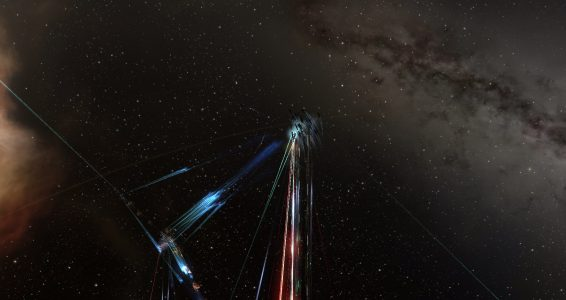 The Vanguard Coalition Tengu Fleet Exchanging Fire with the Two Proteus Fleets in PNQY-Y