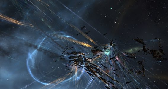 The Drone Regions Federation Machariel Fleet and the Snuffed Out\Project.Mayhem. Rattlesnake Fleet Locked in Point Blank Combat