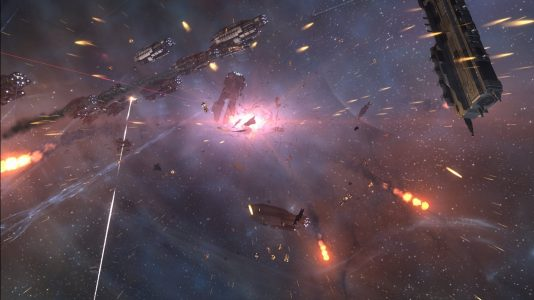 Battleships Engaging in Heavy Fighting in Old Man Star
