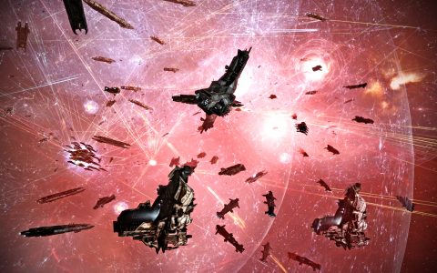 Goonswarm Federation Combat Carriers Jumping into the 1P-WGB Gate Grid in F4R2-Q