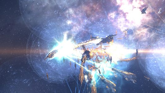 The Goonswarm Federation Titans Firing their Doomsday Devices at the Leviathan in 36N-HZ